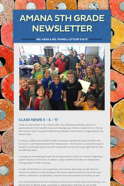 Amana 5th grade Newsletter