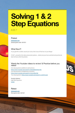 Solving 1 & 2 Step Equations