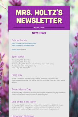 Mrs. Holtz's Newsletter