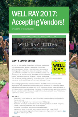 WELL RAY 2017: Accepting Vendors!