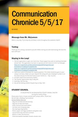 Communication Chronicle 5/5/17