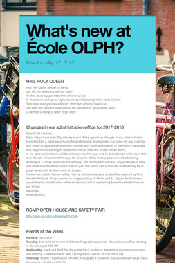 What's new at École OLPH?