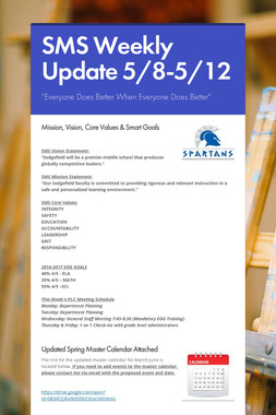 SMS Weekly Update 5/8-5/12