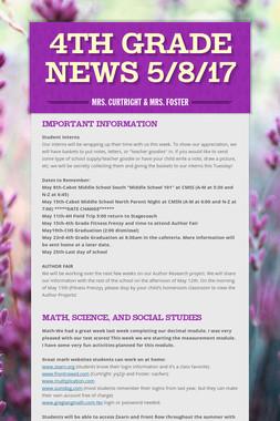 4th Grade News 5/8/17