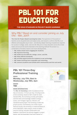 PBL 101 for Educators