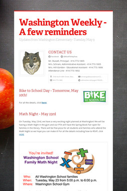Washington Weekly - A few reminders