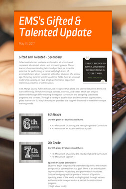 EMS's Gifted & Talented Update