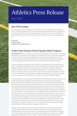 Athletics Press Release