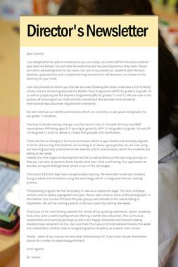 Director's Newsletter