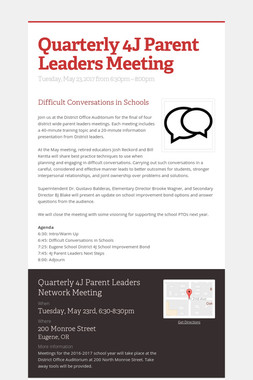Quarterly 4J Parent Leaders Meeting