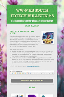 WW-P HS South EdTech Bulletin #15