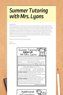 Summer Tutoring with Mrs. Lyons