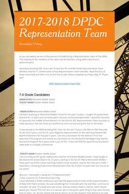 2017-2018 DPDC Representation Team