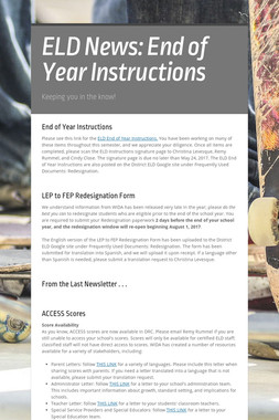 ELD News: End of Year Instructions