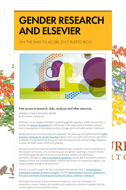 GENDER RESEARCH AND ELSEVIER