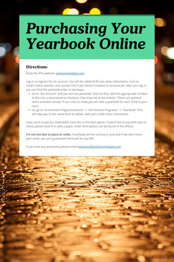 Purchasing Your Yearbook Online