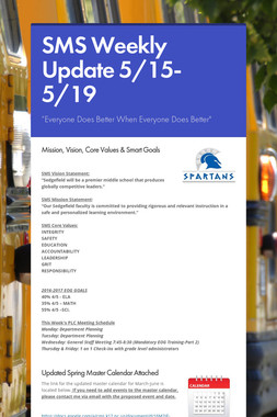 SMS Weekly Update 5/15-5/19