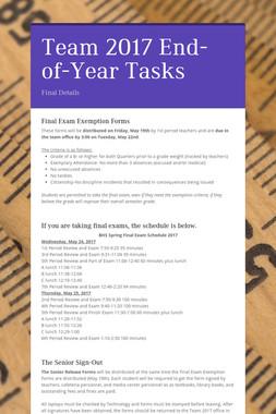 Team 2017 End-of-Year Tasks