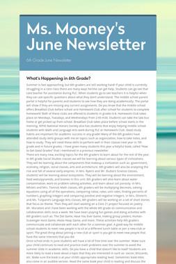 Ms. Mooney's June Newsletter