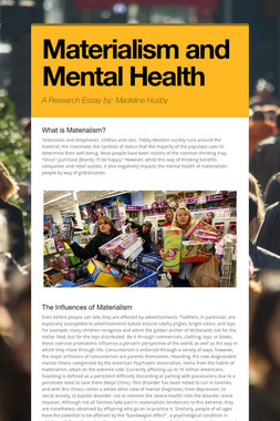 Materialism and Mental Health