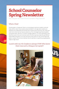 School Counselor Spring Newsletter