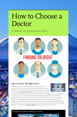 How to Choose a Doctor