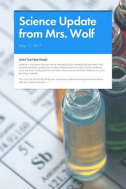 Science Update from Mrs. Wolf