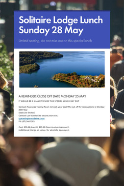 Solitaire Lodge Lunch Sunday 28 May