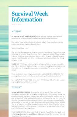 Survival Week Information