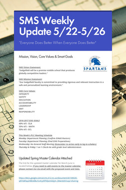 SMS Weekly Update 5/22-5/26