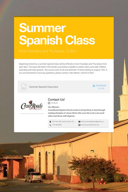 Summer Spanish Class