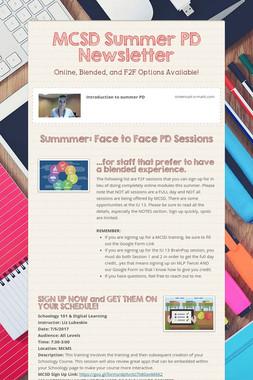 MCSD Summer PD Newsletter
