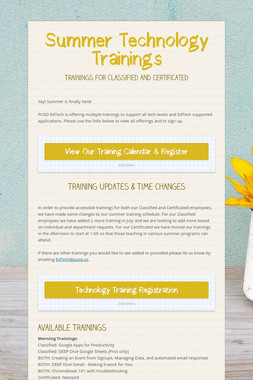 Summer Technology Trainings