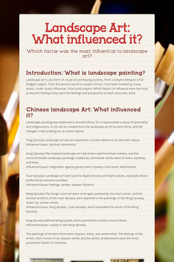 Landscape Art: What influenced it?