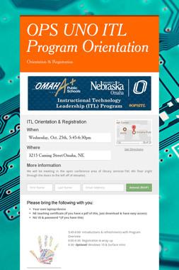 OPS UNO ITL Program Orientation
