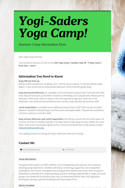 Yogi-Saders Yoga Camp!