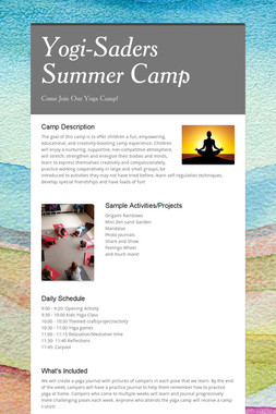 Yogi-Saders Summer Camp