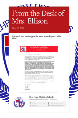From the Desk of Mrs. Ellison