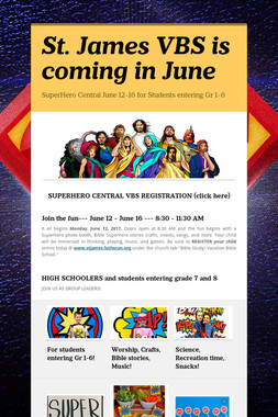 St. James VBS is coming in June