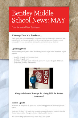 Bentley Middle School News: MAY