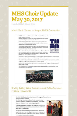 MHS Choir Update May 30, 2017