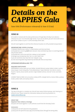 Details on the CAPPIES Gala