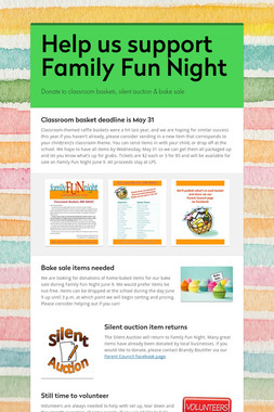 Help us support Family Fun Night