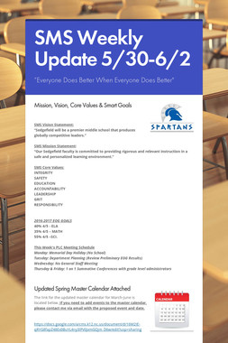SMS Weekly Update 5/30-6/2
