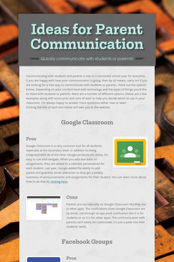 Ideas for Parent Communication