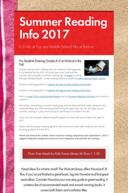 Summer Reading Info 2017