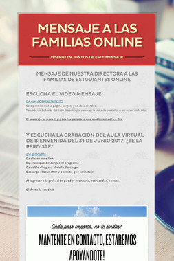 MENSAJE A LAS FAMILIAS Online