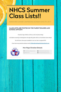 NHCS Summer Class Lists!!