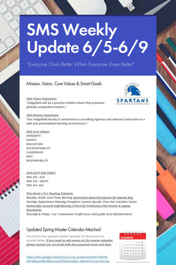 SMS Weekly Update 6/5-6/9