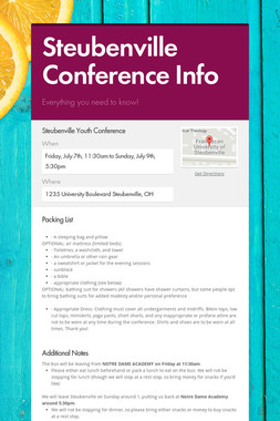 Steubenville Conference Info